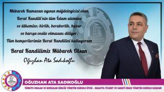 Başkan Sadıkoğlu'nun Berat Kandili mesajı