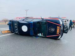 Depremden dönen UMKE ekibi kaza yaptı